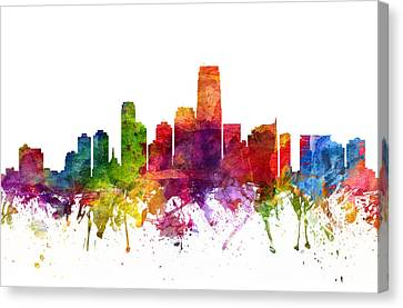 Jersey City Cityscape 06 Canvas Print by Aged Pixel