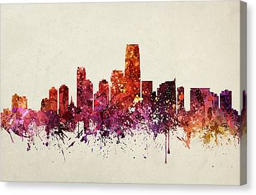 Jersey City Cityscape 09 Canvas Print by Aged Pixel