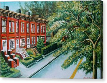 Canvas Print featuring the painting Jersey City Street by Melinda Saminski