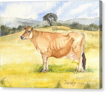 Canvas Print featuring the painting Jersey Cow by Sandra Phryce-Jones