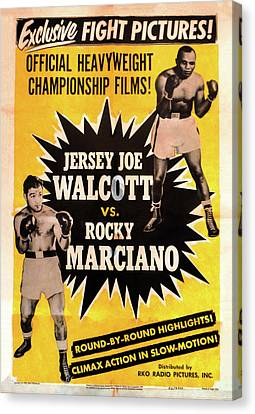Jersey Joe Walcott Vs Rocky Marciano Canvas Print by Bill Cannon