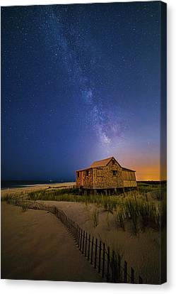 Canvas Print featuring the photograph Jersey Shore Setting Moon  And Milky Way by Susan Candelario