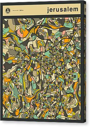 Jerusalem Canvas Print - Jerusalem City Map by Jazzberry Blue