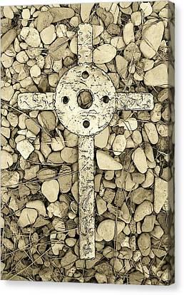 Jerusalem Cross In Sepia Tone Canvas Print by Deborah Montana