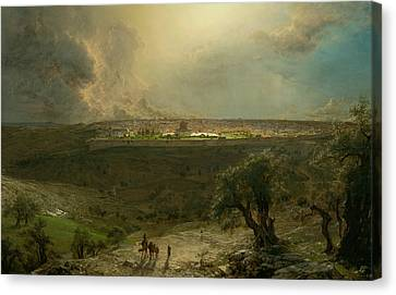 Jerusalem From The Mount Of Olives Canvas Print by Frederic Edwin Church