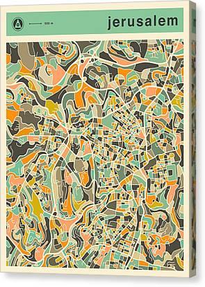 Jerusalem Canvas Print - Jerusalem Map 2 by Jazzberry Blue