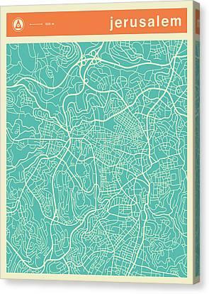 Jerusalem Canvas Print - Jerusalem Street Map by Jazzberry Blue