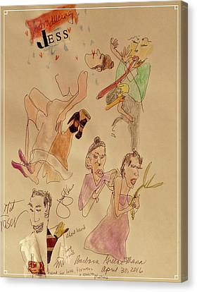 Jess' Dance, The Signer, And The Announcer Using Short Hand Canvas Print by Barb Greene mann