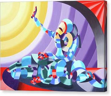 Canvas Print featuring the painting Jesse And Shandra - Abstract Figurative Oil Painting By Mark Webster by Mark Webster