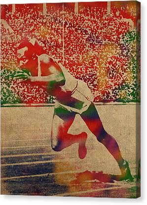 Sprinter Canvas Print - Jesse Owens Watercolor Portrait by Design Turnpike