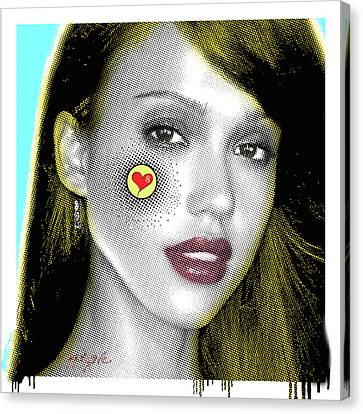 Jessica Alba Pop Art, Portrait, Contemporary Art On Canvas, Famous Celebrities Canvas Print by Dr Eight Love