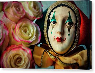 Romance Renaissance Canvas Print - Jester And Roses by Garry Gay