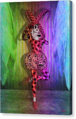 Jester Rainbow Girl  Canvas Print by Quim Abella