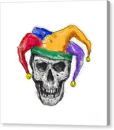 Missing Teeth Canvas Print - Jester Skull Laughing Tattoo by Aloysius Patrimonio