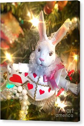 Jester White Rabbit Christmas Ornament Canvas Print by Amy Cicconi