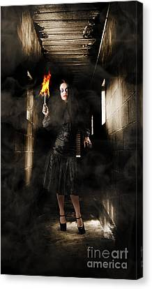 Jester Woman In Fear Walking Haunted Castle Halls Canvas Print by Jorgo Photography - Wall Art Gallery