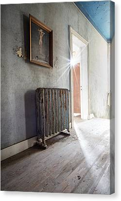 Jesus Above The Heater - Abandoned Building Canvas Print