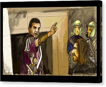 Jesus And Pilate Canvas Print by Chris Lovell