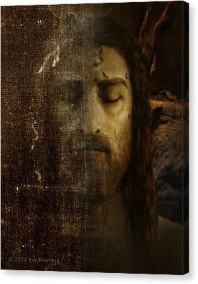 Jesus Face Canvas Print - Jesus And Shroud by Ray Downing