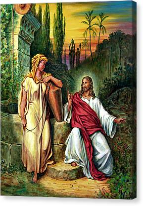 Jesus And The Woman At The Well Canvas Print by John Lautermilch