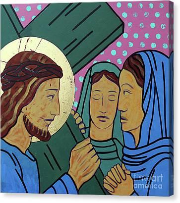 Jesus And The Women Of Jerusalem Canvas Print