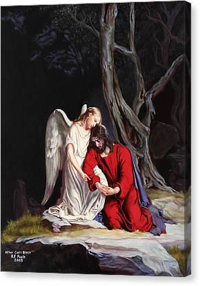 Jesus At Gethsemane Canvas Print by Rebecca Poole