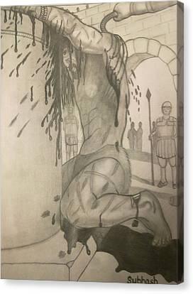 Jesus Being Beaten Canvas Print by Subhash Mathew