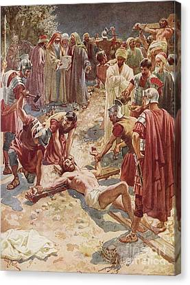 Jesus Being Crucified Canvas Print by William Brassey Hole