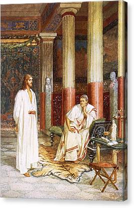 Jesus Being Interviewed Privately Canvas Print by William Brassey Hole