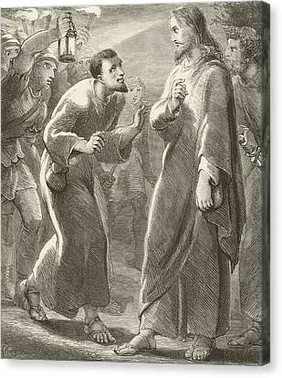 Jesus Betrayed By Judas Canvas Print by English School