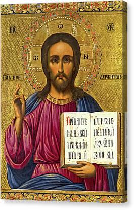 Jesus Christ Icon Canvas Print - Jesus Bible Icon by Munir Alawi