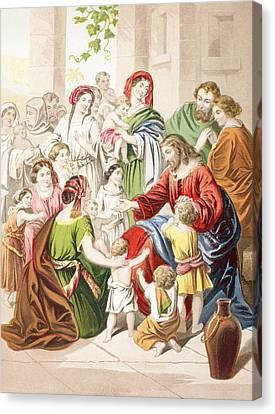 Jesus Blessing Little Children. Suffer Canvas Print by Vintage Design Pics