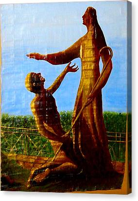 Jesus Blessing St.peter Canvas Print by Xafira Mendonsa