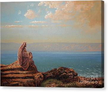 Jesus By The Sea Canvas Print by Michael Nowak
