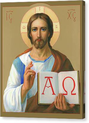 Canvas Print featuring the painting Jesus Christ - Alpha And Omega by Svitozar Nenyuk