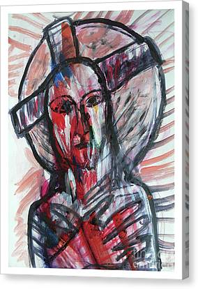 Jesus Christ Breathing Blood By Alice Iordache Canvas Print
