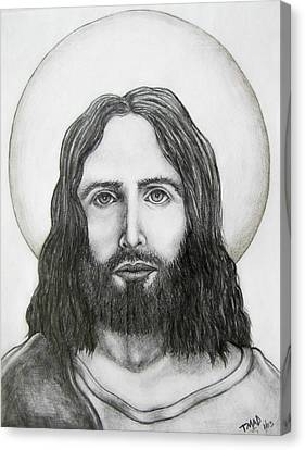 Canvas Print featuring the drawing Jesus Christ by Michael  TMAD Finney