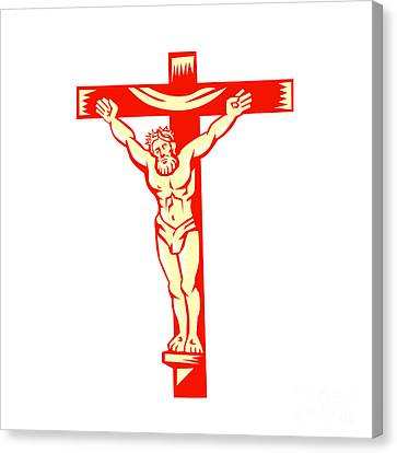 Jesus Christ On Cross Woodcut Canvas Print by Aloysius Patrimonio