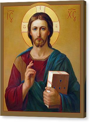 Canvas Print featuring the painting Jesus Christ Pantocrator by Svitozar Nenyuk