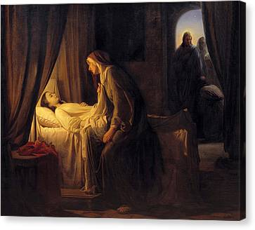 Jesus Christ Raising Daughter Of Jairus Canvas Print by Carl Bloch