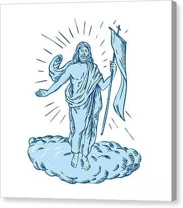 Jesus Christ Resurrection Etching Canvas Print by Aloysius Patrimonio