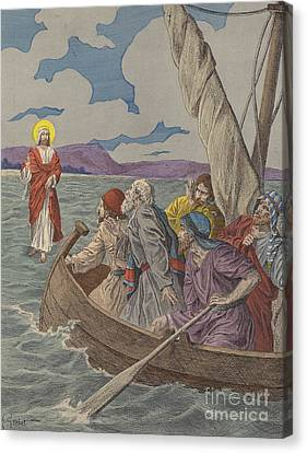Jesus Christ Walking On The Waters Canvas Print