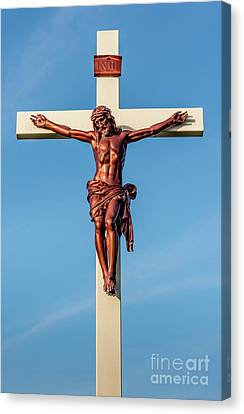 Canvas Print featuring the photograph Jesus Crucifix Against The Sky 3 by Gary Whitton