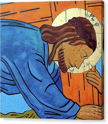 Jesus Falls Under The Cross Canvas Print