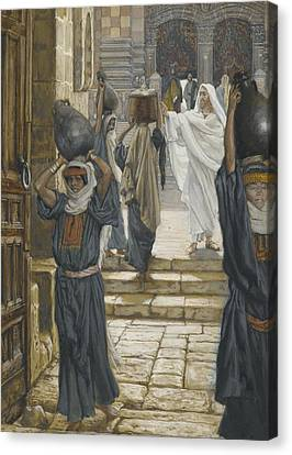 Jesus Forbids The Carrying Of Loads In The Forecourt Of The Temple Canvas Print by Tissot