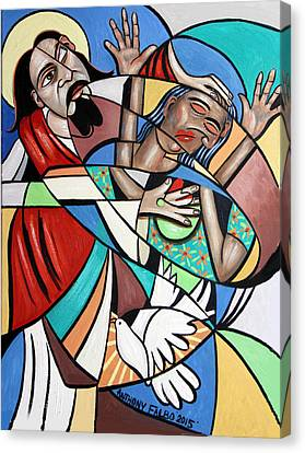 Jesus Heals The Brokenhearted Canvas Print by Anthony Falbo