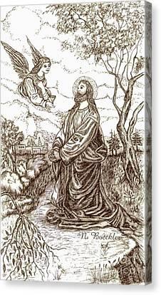 Jesus In The Garden Of Gethsemane Canvas Print by Norma Boeckler