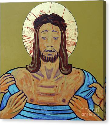 Jesus Is Stripped Canvas Print by Sara Hayward