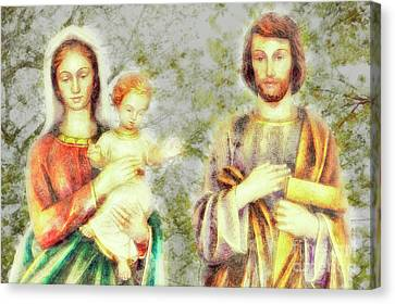 Jesus, Mary, And Joseph, We Love You, Save Families Canvas Print