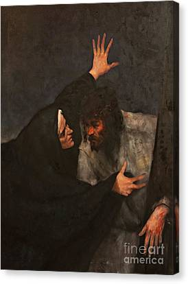 Jesus Meets His Mother Canvas Print by Dan Radi